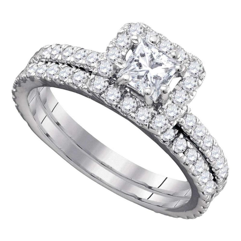 14k White Gold Princess Diamond Bridal Wedding Engagement Ring Set 1-5/8 Ctw