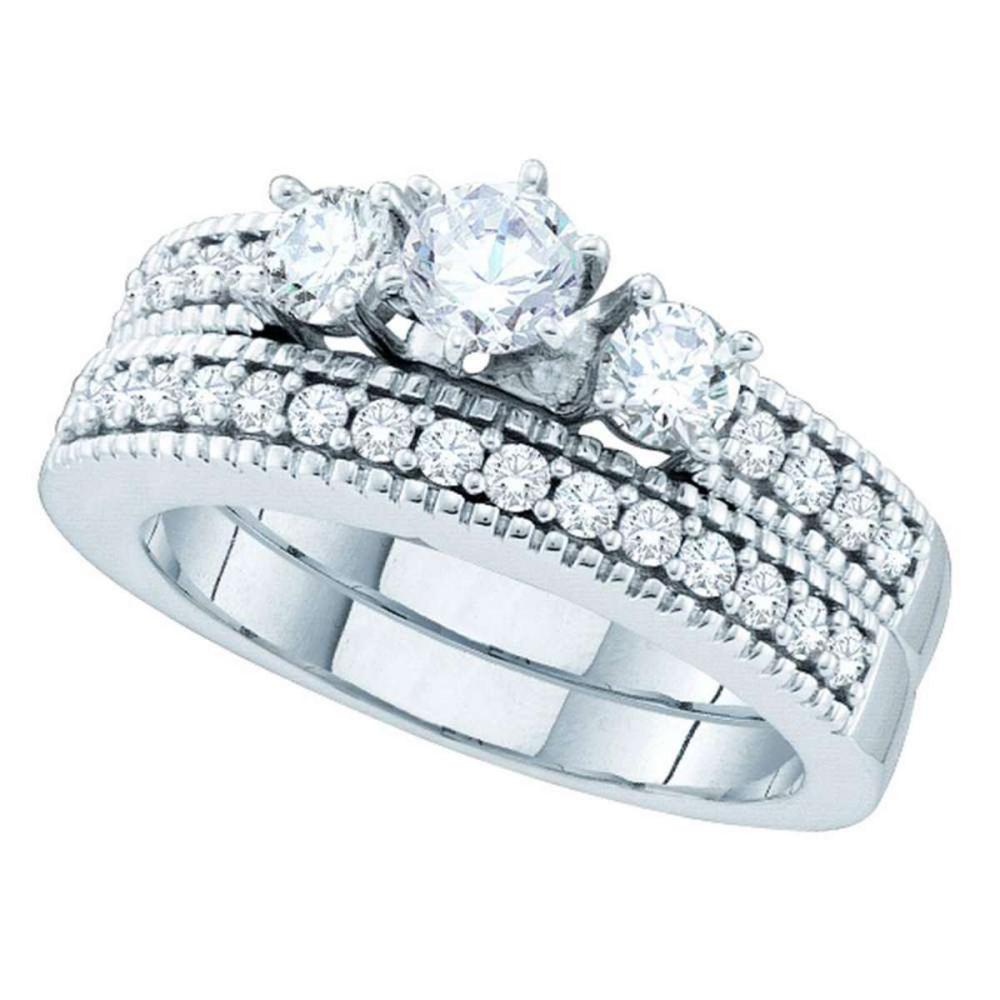 14k White Gold Round Diamond 3-Stone Bridal Wedding Engagement Ring Band Set