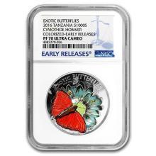 2016 Tanzania Silver 3-D Exotic Butterflies PF-70 NGC (ER)