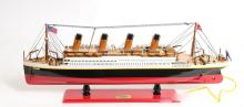 HAND MADE WOODEN TITANIC WITH LIGHTS W/COA