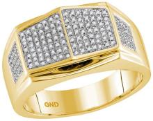 10kt Yellow Gold Mens Round Diamond Summetrical Arched Square Cluster Ring 1/3 Cttw