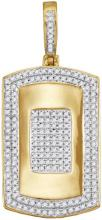 10kt Yellow Gold Mens Round Diamond Framed Dog Tag Cluster Charm Pendant 1/2 Cttw
