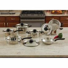 Maxam 18pc Stainless Steel Cookware Set with Steam Control Knobs
