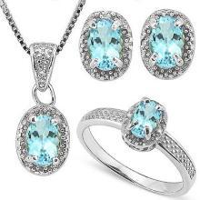 2 2/5 CARAT BABY SWISS BLUE TOPAZS & GENUINE DIAMONDS 925 STERLING SILVER
