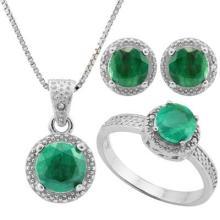 4 4/5 CARAT ENHANCED GENUINE EMERALD S & GENUINE DIAMONDS 925 STERLING SILVER