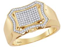 10kt Yellow Gold Mens Round Diamond Curved Octagon Cluster Ring 3/8 Cttw