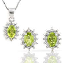 1 1/2 CARAT PERIDOT & DIAMOND 925 STERLING SILVER SET