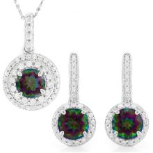 2 2/5 CARAT MYSTIC GEMSTONES & GENUINE DIAMONDS 925 STERLING SILVER