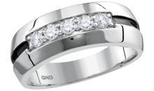 10kt White Gold Mens Round Diamond Wedding Black Groove Band Ring 1/2 Cttw