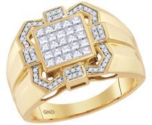 10kt Yellow Gold Mens Princess Diamond Octagon Frame Cluster Ring 7/8 Cttw