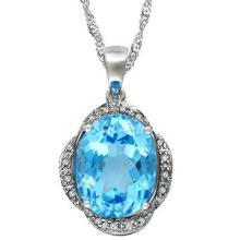 5 1/4 CARAT BABY SWISS BLUE TOPAZ & DIAMOND 925 STERLING SILVER PENDANT