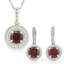 3 CARAT GARNETS & GENUINE DIAMONDS 925 STERLING SILVER LEVER BACK JEWELRY SET
