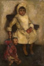 JOHN BYAM LISTON SHAW, R.I., R.O.I., (1872-1919)  - A PORTRAIT OF OLIVE WITH HER CHINA DOLL