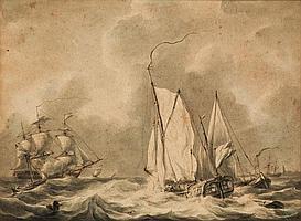 MARTINUS SCHOUMAN (DUTCH, 1770-1848) A YACHT IN A