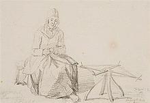 James Ward, RA (1769-1859)  Mrs Macnab of Inversnaid at her Spinning Wh