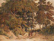 Robert Hills, O.W.S. (1769-1844)  Cattle-droving on a country lane