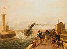 ATTRIBUTED TO WILLIAM COLLINS R.A. (1788-1847)  HARBOUR SCENE  oil