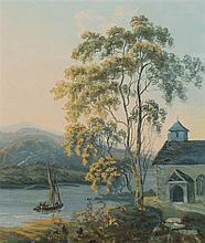 John Laporte (1761-1839)  Lakeside scene with approaching boat  wat