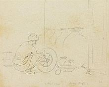 THOMAS DANIELL, R.A. (1749-1840)   AUBDAUR,WATER COOLER  pencil