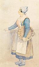 THOMAS SEWELL ROBINS, N.W.S. (1810-1880)  STUDY OF A FISHERWOMAN  s