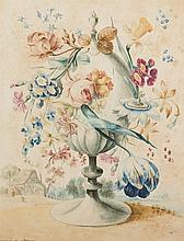 J. VAN ORNBLOOR (ACTIVE C. 1750)  FLOWERS IN AN ORNAMENTAL URN IN A LAN
