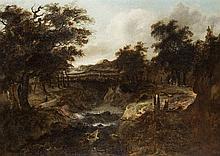 Manner of Jacob Salomonsz van Ruysdael (1629-1681)  Figures in a wooded
