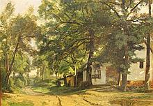 THEODORE FOURMOIS (1814-1871)  WOODED LANDSCAPE WITH FARM BUILDINGS