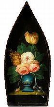 FLORAL PAINTED BOAT-SHAPED TRAY  oil on panel  64 cm by 29 cm; 25 i