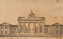 Georg Greis (fl. 1814)  The Brandenburg Gate, Berlin  signed dated