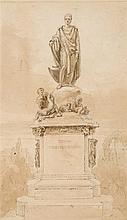 Thomas Uwins, R.A. (1782-1857)  The statue of the Duke of Bedford in Ru
