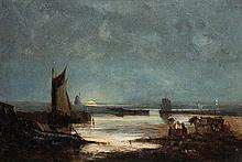 Attributed to Henry Bright (1814-1873)  Coastal scene by moonlight