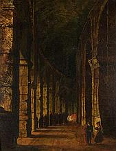 English School (mid 19th century)  The Colosseum, Rome  oil on boar