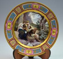 One Royal Vienna Style Plate of Man Woman Child