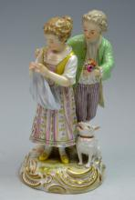 Meissen Statue of a Couple and a Dog