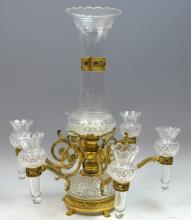 19th Century French Bronze & Crystal Centerpiece