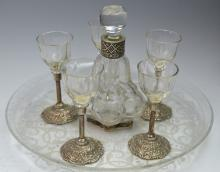 Silver & Glass Liquor Set on Tray Signed