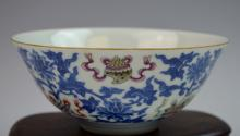 Chinese Blue and White Famille Rose Porcelain Bowl