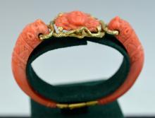 Victoria 18 K Gold & Coral Carved Bracelet