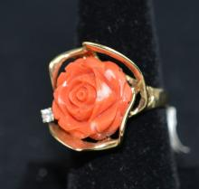 14 K Coral Carved Flower Ring with Diamond