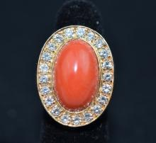 14 K Coral & Diamond Ring