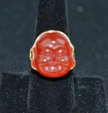 14 K Gold Ring with Carved Agate