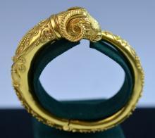 22 K Greek Signed Ram Head Gold Bracelet
