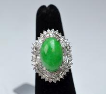 Jade & Diamond Platinum Ring