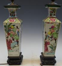 Pr 18th Cen Chinese Famille Rose Vases Lamp