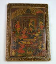 Rare 19th C. Khajar Painted Mirror Lacquer Case