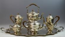 English Sterling Silver Complete Tea Set and Tray