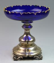 19th Century Silver & Glass Stem Bowl