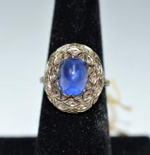 Sapphire 14 K White Gold Ring