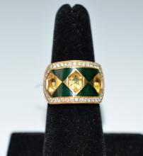 Enamel & Diamond & Citrine Ring