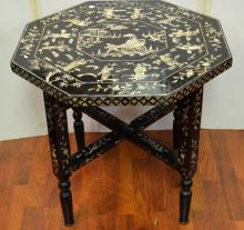 One Mother-pearl Inlaid Hexagonal Table